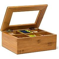 Relaxdays Teebox aus Bambus H x B x T: ca. 9 x 22 x 16 cm Teekasten mit 6 Fächern Teebeutelbox aus Holz mit Deckel samt Sichtluke Teekiste zum Bewahren des Aromas für intensiven Teegenuss, natur