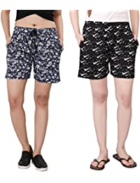 Bfly Women's Printed Cotton Hosiery Shorts-Pack Of 2(Blue & Black)