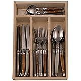 Laguiole - Cubertera de acero inoxidable y plstico ABS en caja de madera, 24 piezas, color gris, marrn y beige