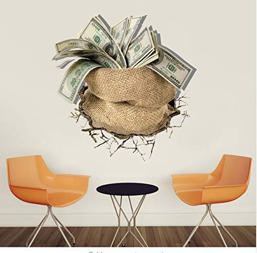 r Eine Tasche Mit Geld Dollar Pfund 3D Wandaufkleber Kreative Büro Wohnzimmer Wandkunst Aufkleber Wohnkultur Vinyl Aufkleber Poster Muraux ()