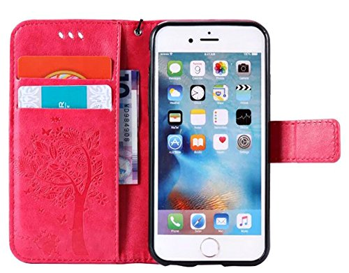 "Nnopbeclik®[Coque Iphone 6 silicone / Coque Iphone 6S silicone] Wallet/Protable en Bonne Qualité PU Cuir Housse pour Iphone 6 Coque silicone / Iphone 6S Coque silicone (4.7 Pouce) ""Chat et Arbre Papil rose"