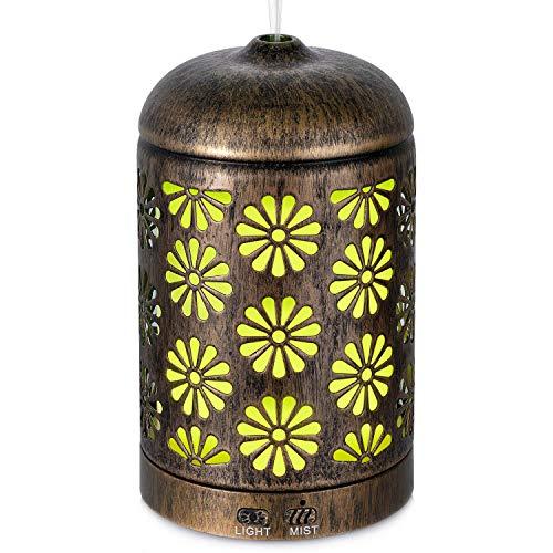 AIGOCEER Aroma Diffuser, Metall Diffusor Luftbefeuchter 2 in 1, Ultraschall Air Humidifier 200ml 7 LED Lichtsmodi für Bad, Schlaf- oder Wohnzimmer -