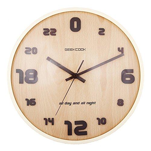 Wall Clocks Wanduhr Uhren Wecker Uhr Haushalt Pendeluhr 24 Stunden sphärischer Glaslockenwickler leise nicht tickendes batteriebetriebenes 12 Zoll-Runde Einfach zu lesen Wohnzimmer Esszimmer Café und Bar Eisen Schlafzimmer - Toskana-altes Eisen