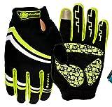 Morethan imperméable Gants de cyclisme Mountain Bike Gants Racing Vélo Route Lumière Gants en Silicone Gel pour cyclisme gants gants de vélo gants d'équitation pour homme/femme gants de travail, jaune, moyen