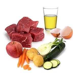 Hochwertige Zutaten für Nassfutter wie Fleisch, Gemüse, Obst und Öl