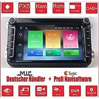 AV8V4-PRO Android 8.0 8 Zoll Bildschirm VW Autoradio mit Navigation 2 DIN Bluetooth 4 DAB Digitalradio 8 Core 4G+32G IPS Display USB Mirrorlink GPS CAM Canbus Sygic Verkehrsinfo für SEAT SKODA VOLKSWAGEN