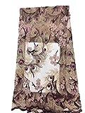 Plus Haut 4,6m Français/Nigeria africain en dentelle Nouveau Design africain Dentelle Tissus Multi Couleur Fleur 3d en dentelle Tissu Perles Tissu dentelle pour mariée Café
