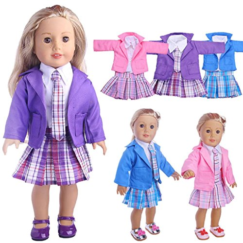 dolls accessory dolls clothes, 4pcs outfits Dolls Clothes christmas jumper Coat+White Shirt+Skirt+Tie for 18 inch our generation Fashion Dolls - Hirolan Dolls Outdoor Accessories