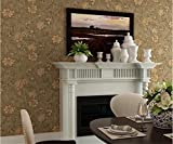 Tapete Vliestapete American Nostalgie Vintage Flower Tapete Schlafzimmer Wohnzimmer Ausstattung Wanddekoration Vögel und Blumen Ästen klassischen Tapete 10* 0,53(M) braun