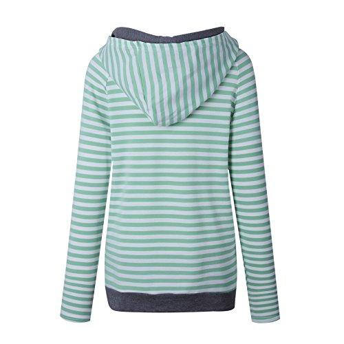 ASSKDAN Damen Gestreift Pulli Sweatshirts Hoodie Sport Langarm Reißverschluss Pullover Outerwear (EU 38/M, Grün) - 4