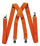 axy Hochwertige Herren Hosenträger breit 2,5 cm mit 4 Starken Clips X-Form und Damen (Orange)