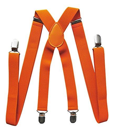 Axy bretelle da uomo e da donna, larghezza 2,5 mm con 4 forti clip a forma di x arancione orange