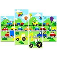 Rubybloom Designs Planes, Trains & Automobiles - Tractor Digger Car 4 Panel Canvas Print