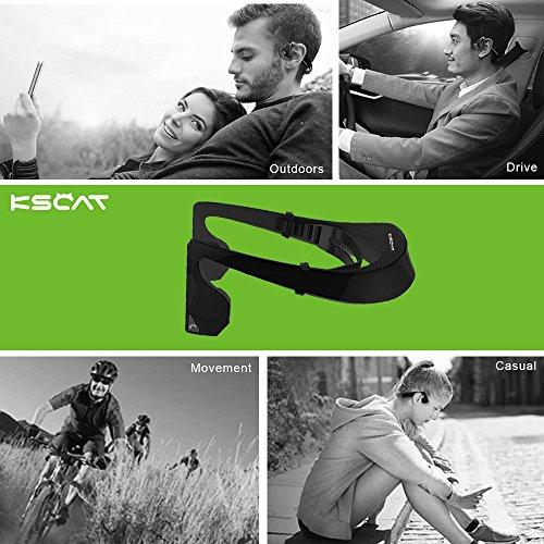 Kopfhörer Bluetooth 4.1 KSCAT Bone Conduction Ohrhörer Headphone Nice2 Sport Knochenleitung Knochenschall Wireless drahtlos Telefontaste Schwarz - 6