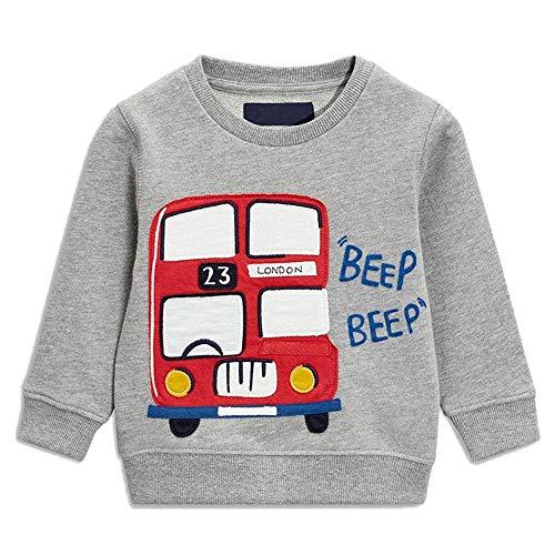 Tarkis Kinder T-Shirt Baumwolle Cartoon Bus Auto Muster Jungen Drache Oberteil Pullover Größe 92-122 Auto Sweatshirt