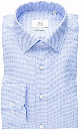 ETERNA long sleeve Shirt MODERN FIT Fancy weave structured Blu