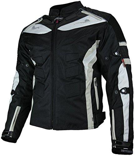 HEYBERRY Damen Motorrad Jacke Motorradjacke Textil Schwarz Grau Gr. XL/42