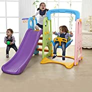 Rainbow toys Kids 3 in 1 Outdoor Play Structure Jumbo Slide with Swing And Basket Ball Game