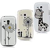 Lanveni 3x Samsung Galaxy S3 Mini i8190 Handyhülle Hardcase Schutzhüllen Shell Abdeckung Back Cover(Giraffe + Löwenzahn + Chrysantheme)