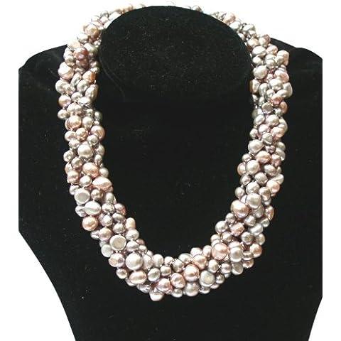 Collana 'Louisa' con sensazionali perle barocche lilla/grigio argento/rosa a sei fili coltivate d'acqua dolce con fermaglio in argento