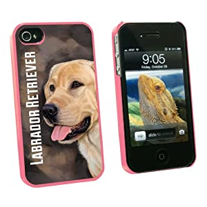 Graphics and More Yellow Labrador Retriever Brown - Dog Pet - Snap On Hard Protective Case for Apple iPhone 4 4S - Pink - Carrying Case - Non-Retail Packaging - Pink from Graphics and More