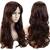 Peluca de mujer con cabello sintético ondulado largo de 48 cm y flequillo para disfraces u otros acontecimientos