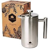 French-Press aus Edelstahl von Groenenberg | 0,6 Liter Kaffee-Bereiter doppelwandig | Kaffee-Presse inkl. Ersatzfiltern