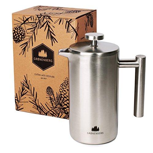French-Press aus Edelstahl von Groenenberg | 0,6 Liter Kaffee-Bereiter doppelwandig | Kaffee-Presse...