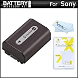 Battery Kit For Sony Cyber-Shot DSC-HX100V DSC-HX200V Digital Camera Includes Extended (1000mAh) Replacement NP-FH50 Battery + LCD Screen Protectors + MicroFiber Cleaning Cloth .