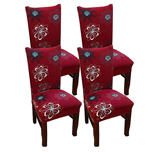 Parsons Stuhl Stoff Stuhl (simpletome Stuhlhusse Stretch Stretchhusse Stuhl Entfernbar Waschbar Mehrfarbig 4 Packungen (rot))