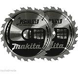 2 x Makita 165 x 20mm x 24T Wood Circular Saw Blade B-09167 BSS610 BHS630 BSS611
