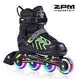 2pm Sports Brice Pattini in linea regolabili, Ruote illumina LED, divertente inline skates per ragazzi, ragazze e giovani - Verde M (35-38)