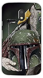 Crazy Beta Boba Fett Star war character Military helmet Printed mobile back cover case for Motorola Moto E3