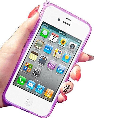 MOMDAD Souple Coque pour Apple iPhone 4 4S TPU Silicone Étui iPhone 4 4S Soft Housse Protecteur Case iPhone 4 4S Transparent Coque iPhone 4 4S Absorbant Chocs Protection Étui iPhone 4 4S Anti-Scratch  Lapin-Purple