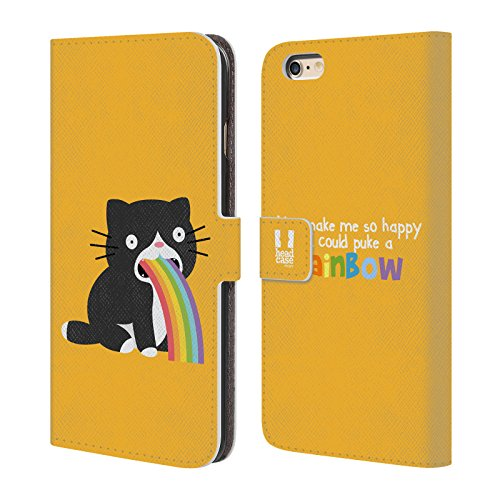 Head Case Designs Einhorn Regenbogenkotze Brieftasche Handyhülle aus Leder für Apple iPhone 6 / 6s Katze