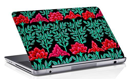RADANYA Floral bedruckter Laptop Skin Cover schwarz & grün Art Vinyl Aufkleber passt 14.1 bis 15.6 Zoll (Grün Floral Bedruckte)