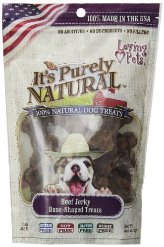 Loving Pets Products It's Purely Natural Beef Jerky Bone-Shaped Dog Treat, 4-Ounce by Acurel LLC -