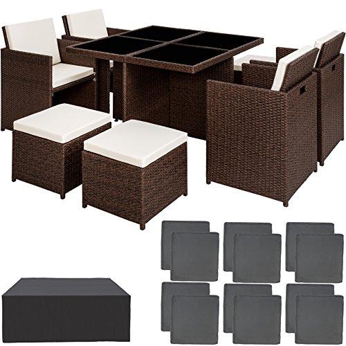 TecTake Poly Rattan Aluminium 4+1+4 Sitzgruppe Cube 4 Stühle 1 Tisch 4 Hocker + Schutzhülle & Edelstahlschrauben - Diverse Farben - (Antik Braun   Nr. 401984)