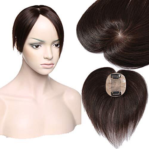 Extension capelli veri 100% human hair toppers con fermagli silk base toupee fatto a mano fascia unica remy lisci hairpiece