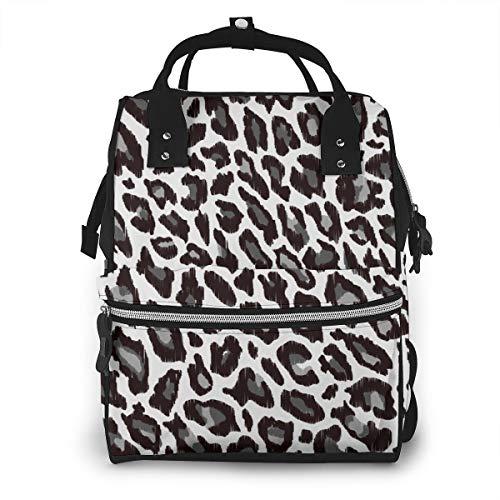 Leopard Animal Print Windel Rucksack Große Kapazität Baby Taschen Multifunktions Reißverschluss Casual Reiserucksäcke Für Mama Papa Unisex -