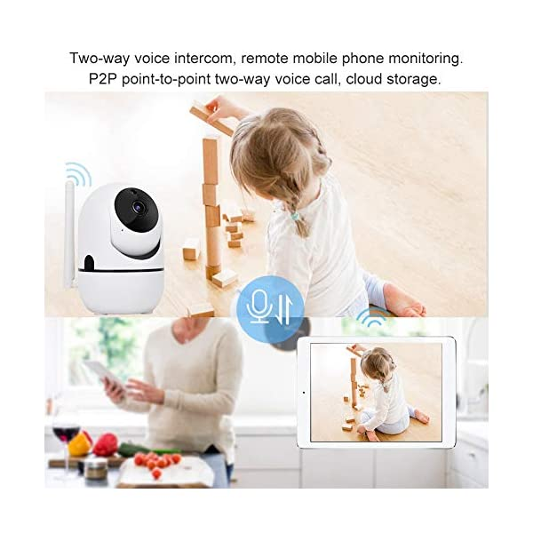 Baby Monitor 720P/1080P HD WiFi Camera Baby Pet Monitor, Smart Wireless IP Camera Indoor Camera with Night Vision and Motion Tracking White(1080P)  720P/1080P HD Images & Night Vision: This baby monitor adopt 1080P/702P full HD lens to ensure bright and beautiful images. Premium infrared light with IR-CUT function, provides clean and clear night vision effect. Intelligent tracking, human body detection, area protection (200W model support). Motion Tracking: The IP camera can monitor movements then send notification to your mobile phone to prevent your home From invasion. Intelligent cruise, internal auto cruise mode, records every corner of your home to escort your home security. 2 Way Audio Anti Noise: Baby pet monitor camera support two-way voice intercom, built-in microphone & speaker and anti noise technology to ensure clear voice quality. The fluent sound allows you to comfort your loved one. You can communicate with each other clearly whenever you want. 3