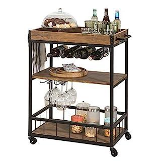 SoBuy® FKW56-N, Industrial Vintage Style Wood Metal 3 Tiers Kitchen Serving Trolley with Wine Rack