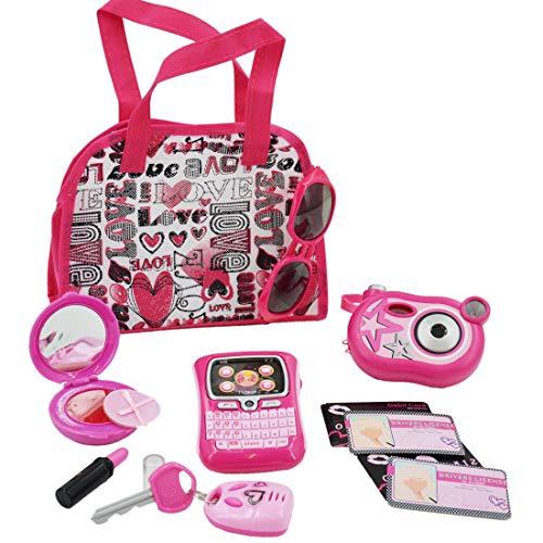 deAO Schminktasche Beauty-Set für Mädchen, Styling, Make-up und Zubehör, Spielset inkl. Spielzeugkamera und Spielzeug-Handy (Iphone 5 Kostüm)