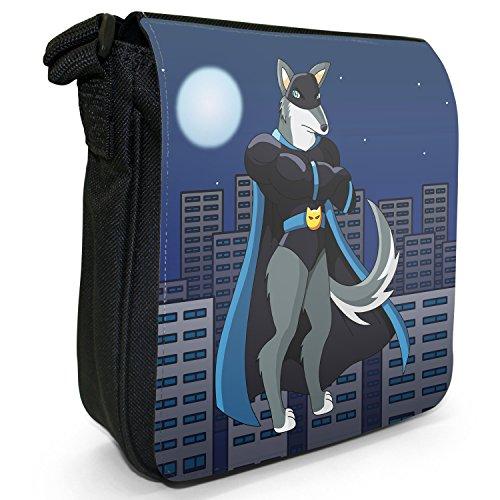 Superhero Action Hero Animals-Borsa a tracolla in tela, piccola, colore: nero, taglia: S Nero (Black Masked Wolf With Cape)