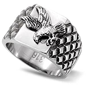 Yourjewellerybox Tk126Pb Stainless Steel 316L Mens Eagle Ring Never Tarnish Size P
