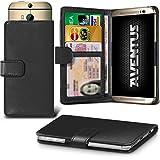Aventus (Schwarze) HTC Desire 620G Dual Sim Premium-PU-Leder Universal Hülle Spring Clamp-Mappen-Kasten mit Kamera Slide, Karten-Slot-Halter und Banknoten Taschen