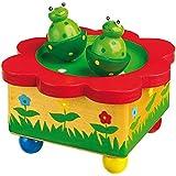 """Spieluhr """"Froschteich"""" aus Holz, mit abnehmbaren Magnet-Figuren, tanzende Frösche und eine schöne Melodie verzaubern Babys und Kinder"""