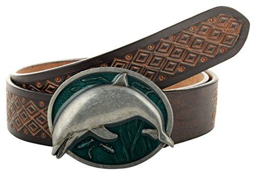 CCBELTS CREATIVE CRAFTS New Black Hand Tooled Men's Leather Belt