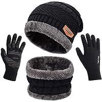 Petrunup Hat Circle Sjaal en Handschoenen Reeks Dames Touchscreen Handschoenen Ski Nekwarmer Slouch Beanie Handschoenen Touchscreen Zwart