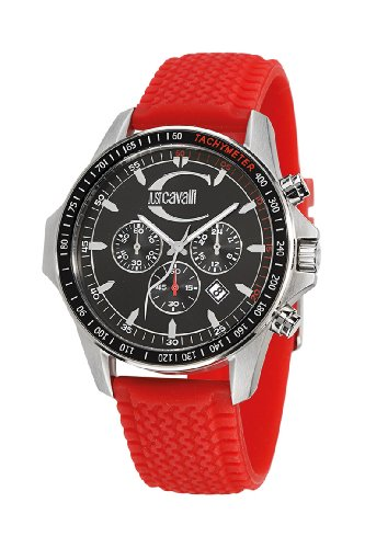 Just Cavalli Unisex Watch R7271693225 In Collection Actually with Chronograph, Black Dial and Red Strap